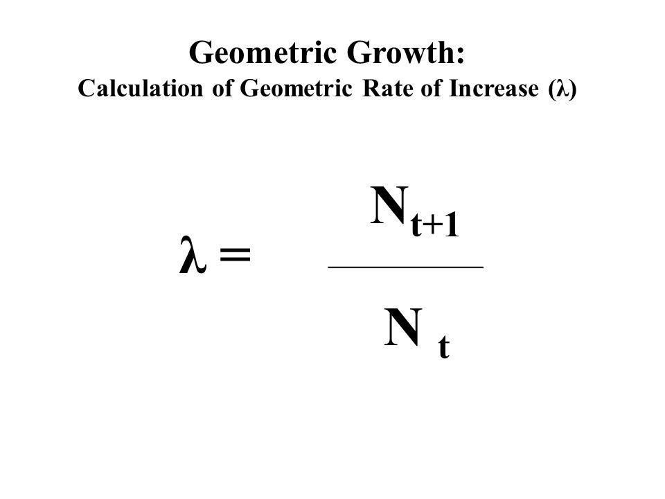 Geometric Growth: Calculation of Geometric Rate of Increase (λ) λ = N t+1 ______________ N t