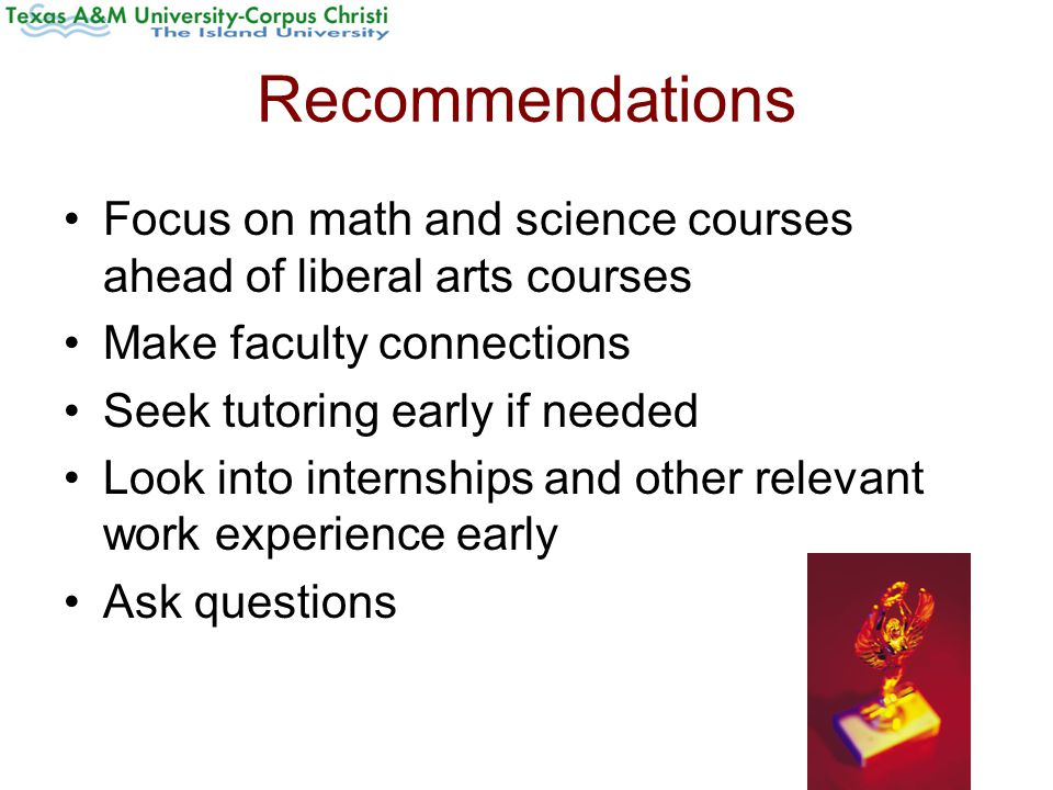 Recommendations Focus on math and science courses ahead of liberal arts courses Make faculty connections Seek tutoring early if needed Look into internships and other relevant work experience early Ask questions