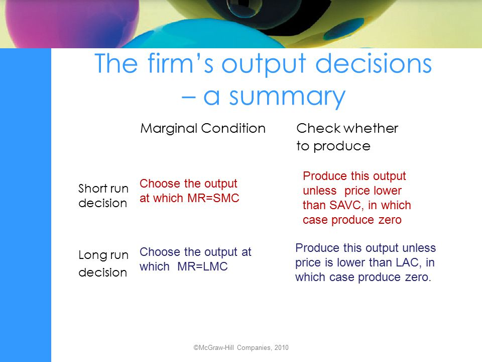 The firm's output decisions – a summary Marginal Condition Check whether to produce Short run decision Long run decision Choose the output at which MR