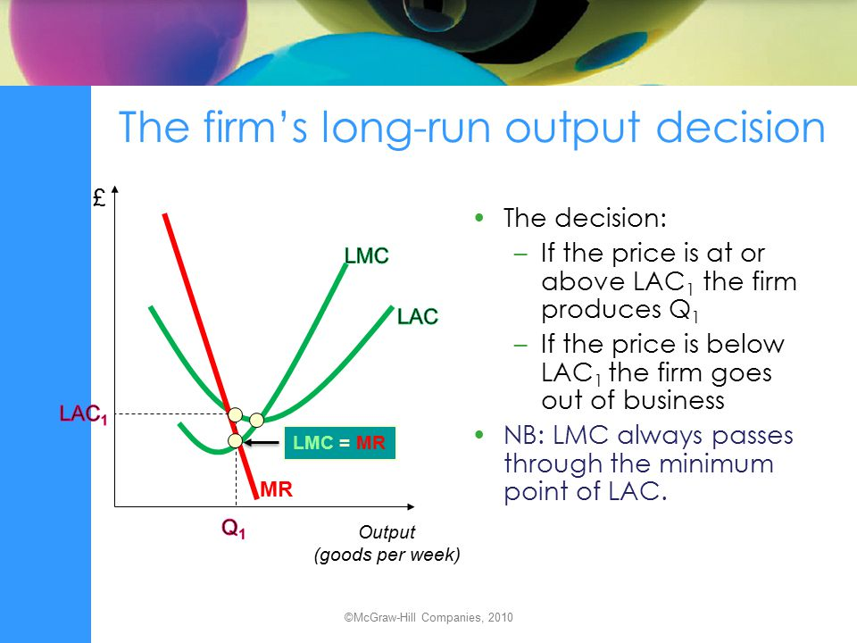 The short run Fixed factor of production –a factor whose input level cannot be varied Fixed costs –costs that do not vary with output levels Variable costs –costs that do vary with output levels Short-run total cost (STC) = short-run fixed cost (SFC) + short-run variable cost (SVC) ©McGraw-Hill Companies, 2010