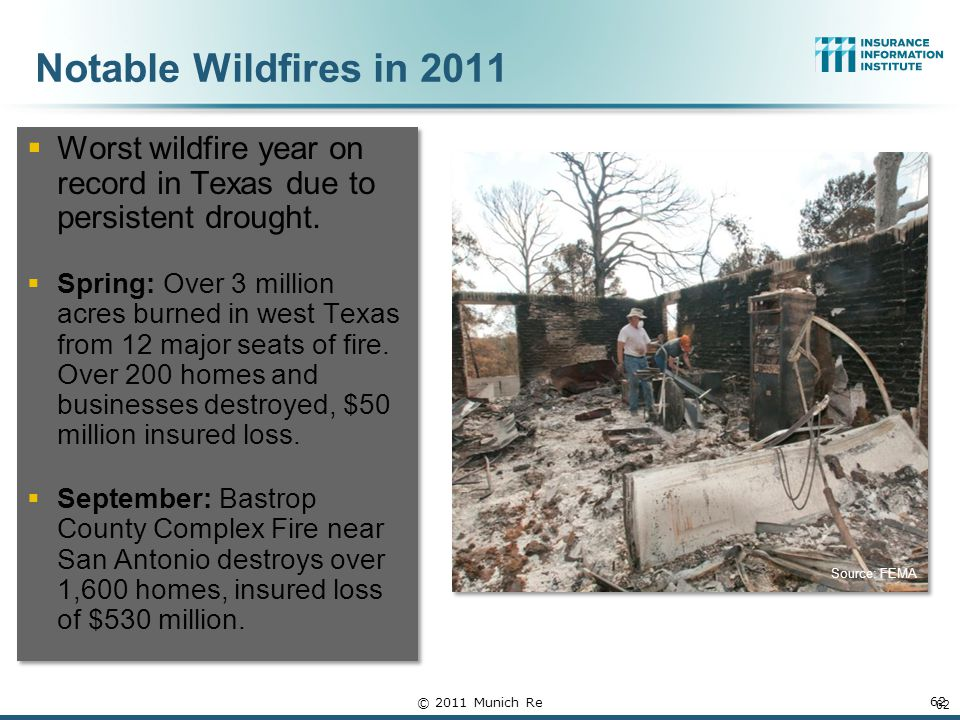 Notable Wildfires in 2011  Worst wildfire year on record in Texas due to persistent drought.