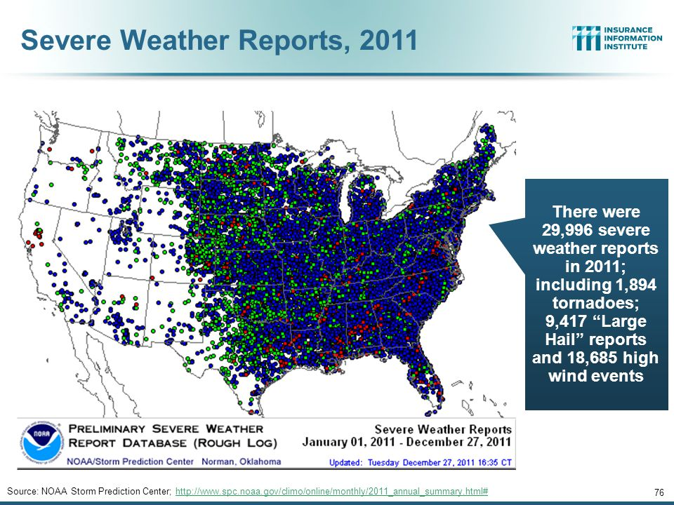 Severe Weather Reports, 2011 76 Source: NOAA Storm Prediction Center; http://www.spc.noaa.gov/climo/online/monthly/2011_annual_summary.html#http://www.spc.noaa.gov/climo/online/monthly/2011_annual_summary.html# There were 29,996 severe weather reports in 2011; including 1,894 tornadoes; 9,417 Large Hail reports and 18,685 high wind events
