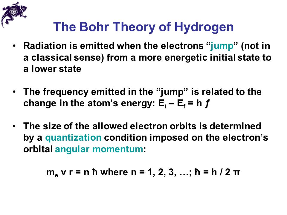 "The Bohr Theory of Hydrogen Radiation is emitted when the electrons ""jump"" (not in a classical sense) from a more energetic initial state to a lower s"