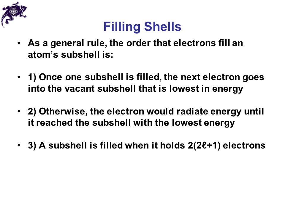 Filling Shells As a general rule, the order that electrons fill an atom's subshell is: 1) Once one subshell is filled, the next electron goes into the