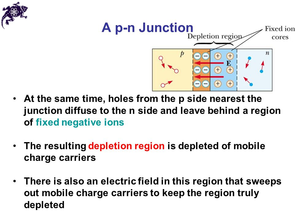 A p-n Junction At the same time, holes from the p side nearest the junction diffuse to the n side and leave behind a region of fixed negative ions The