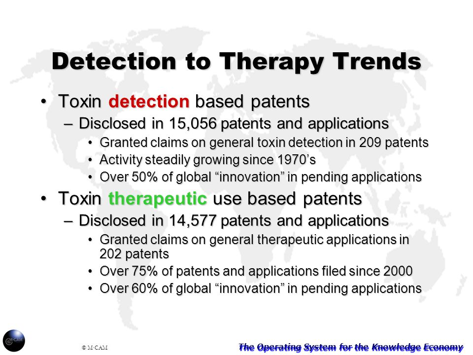 The Operating System for the Knowledge Economy © M·CAM Detection to Therapy Trends Toxin detection based patentsToxin detection based patents –Disclosed in 15,056 patents and applications Granted claims on general toxin detection in 209 patentsGranted claims on general toxin detection in 209 patents Activity steadily growing since 1970'sActivity steadily growing since 1970's Over 50% of global innovation in pending applicationsOver 50% of global innovation in pending applications Toxin therapeutic use based patentsToxin therapeutic use based patents –Disclosed in 14,577 patents and applications Granted claims on general therapeutic applications in 202 patentsGranted claims on general therapeutic applications in 202 patents Over 75% of patents and applications filed since 2000Over 75% of patents and applications filed since 2000 Over 60% of global innovation in pending applicationsOver 60% of global innovation in pending applications