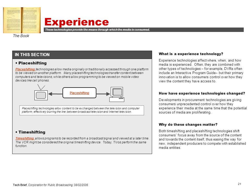 21 Tech Brief, Corporation for Public Broadcasting 08/02/2005 Experience The Book IN THIS SECTION What is a experience technology.