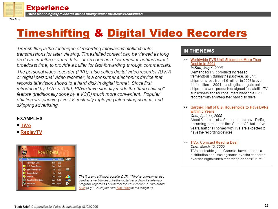 22 Tech Brief, Corporation for Public Broadcasting 08/02/2005 TimeshiftingTimeshifting & Digital Video RecordersDigital Video Recorders Timeshifting i