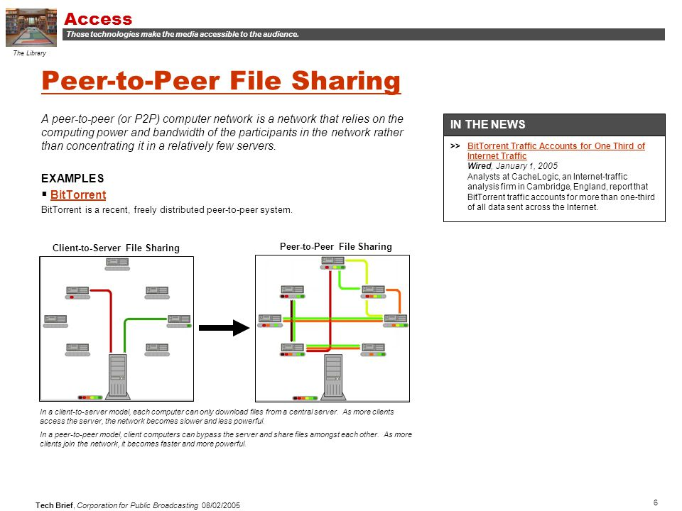 6 Tech Brief, Corporation for Public Broadcasting 08/02/2005 Peer-to-Peer File Sharing A peer-to-peer (or P2P) computer network is a network that relies on the computing power and bandwidth of the participants in the network rather than concentrating it in a relatively few servers.
