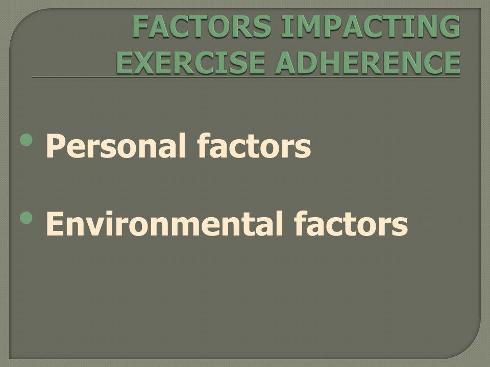 Personal factors Environmental factors