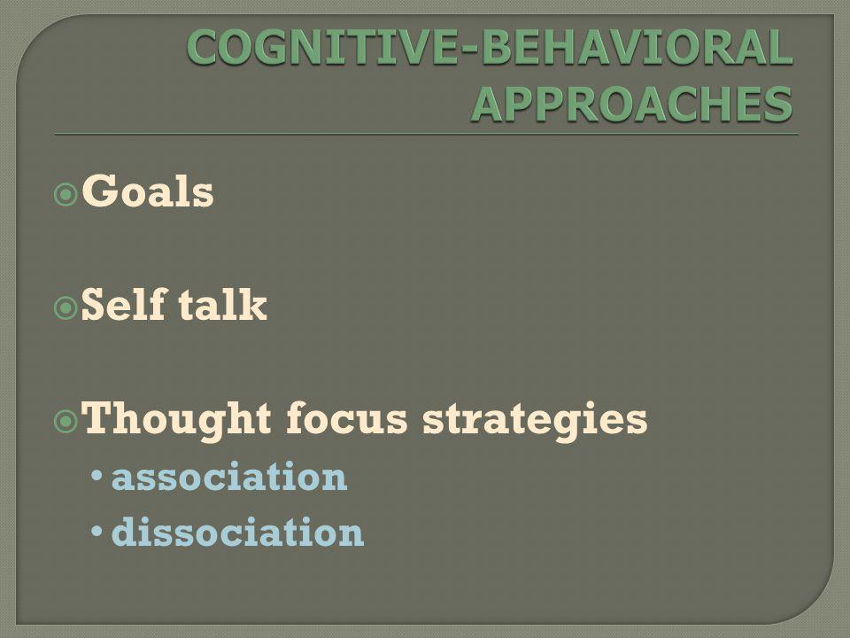  Goals  Self talk  Thought focus strategies association dissociation