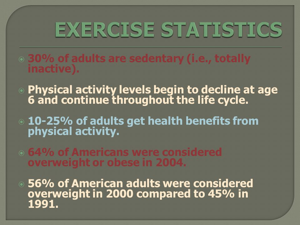  30% of adults are sedentary (i.e., totally inactive).