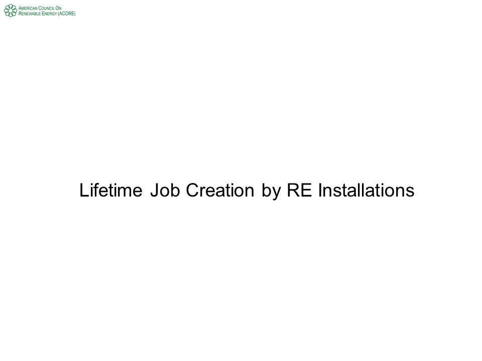 Lifetime Job Creation by RE Installations