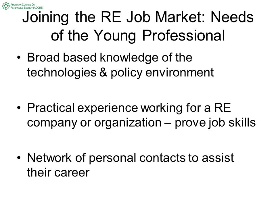 Joining the RE Job Market: Needs of the Young Professional Broad based knowledge of the technologies & policy environment Practical experience working for a RE company or organization – prove job skills Network of personal contacts to assist their career