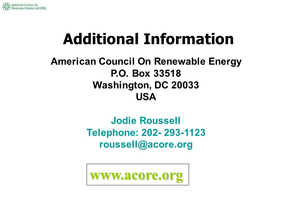 Additional Information American Council On Renewable Energy P.O.