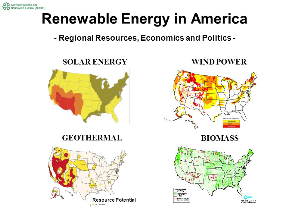 Renewable Energy in America - Regional Resources, Economics and Politics - Resource Potential SOLAR ENERGY WIND POWER GEOTHERMAL BIOMASS