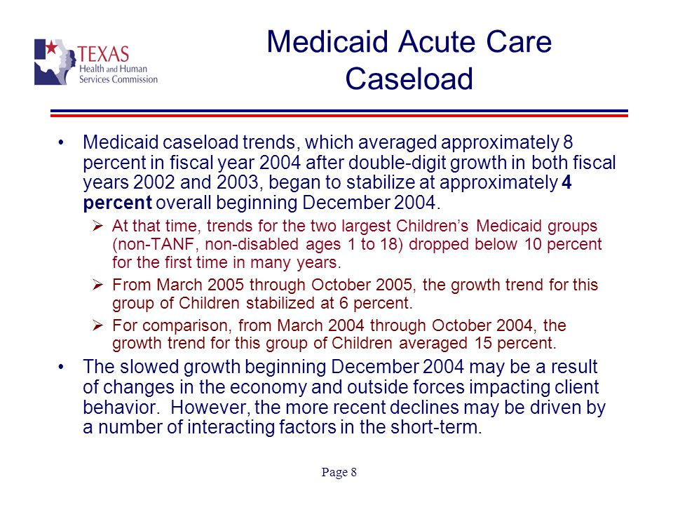 Page 9 Medicaid Acute Care Caseload Medicaid caseload (overall) continued to increase until November 2005, at which point began the first sustained caseload decline since FY1999.