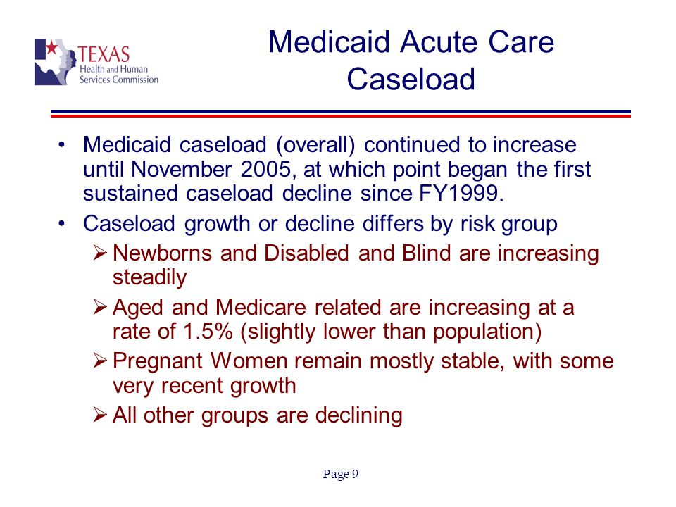 Page 10 Medicaid Caseload: October 2005 & March 2006