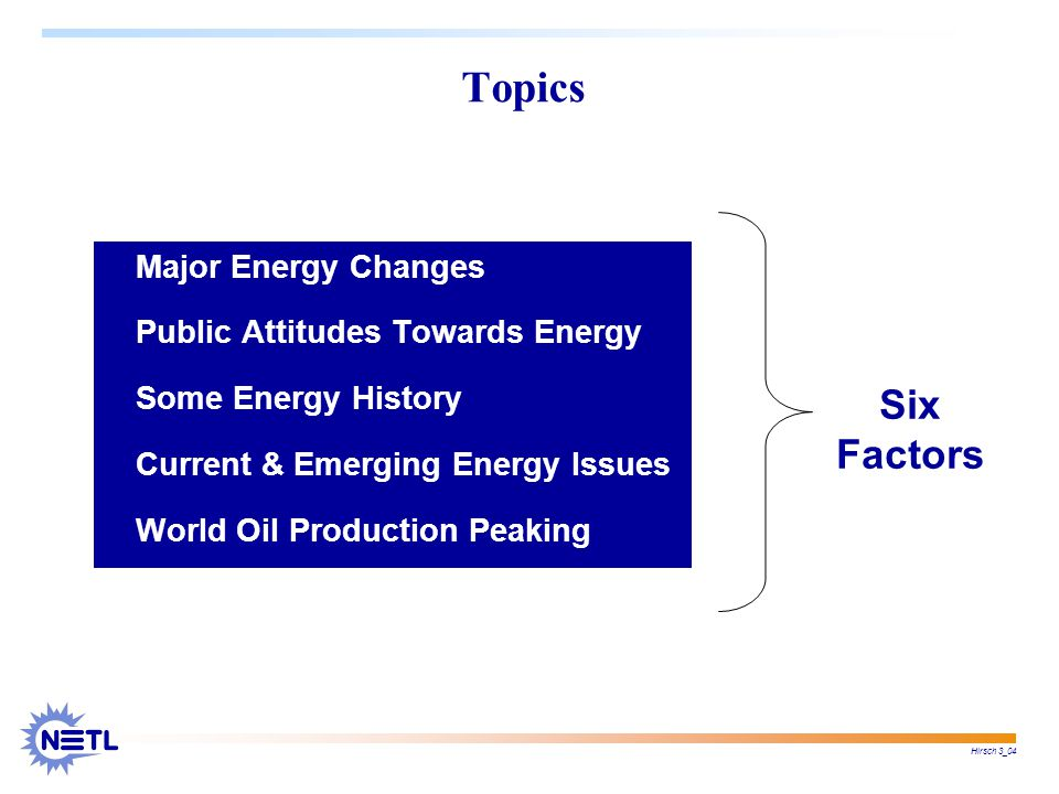 Hirsch 3_04 Nation-scale changes in energy generation & conservation are time consuming & often very expensive.