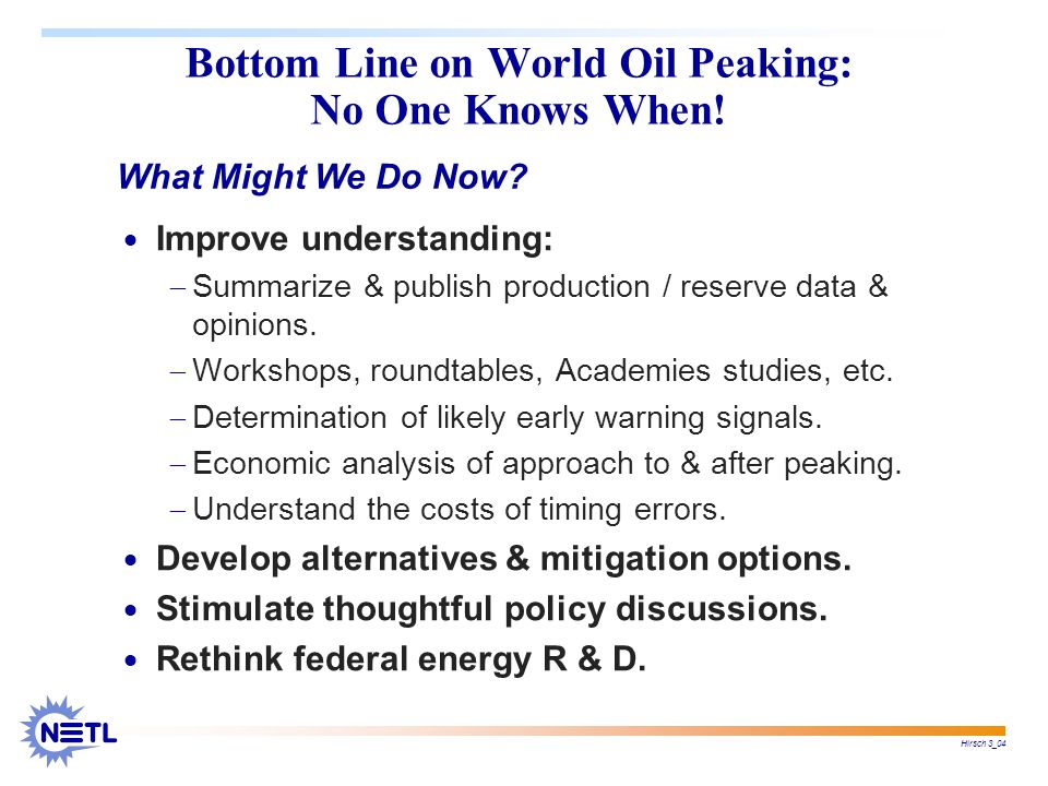 Hirsch 3_04 Bottom Line on World Oil Peaking: No One Knows When.