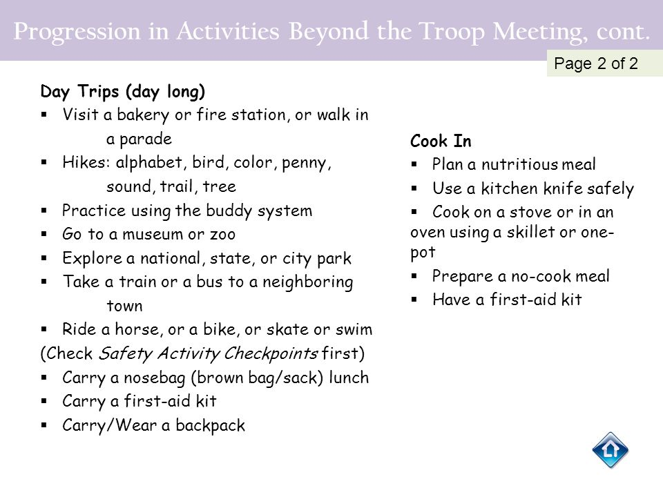Progression in Activities Beyond the Troop Meeting, cont. Day Trips (day long)  Visit a bakery or fire station, or walk in a parade  Hikes: alphabet