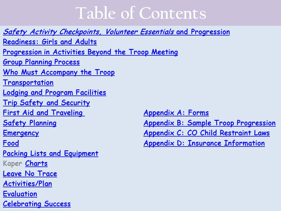 Table of Contents Safety Activity Checkpoints, Volunteer Essentials and Progression Readiness: Girls and Adults Progression in Activities Beyond the T