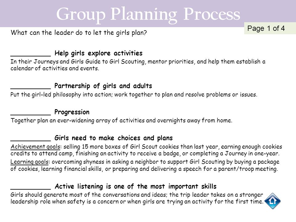Group Planning Process What can the leader do to let the girls plan? __________ Help girls explore activities In their Journeys and Girls Guide to Gir