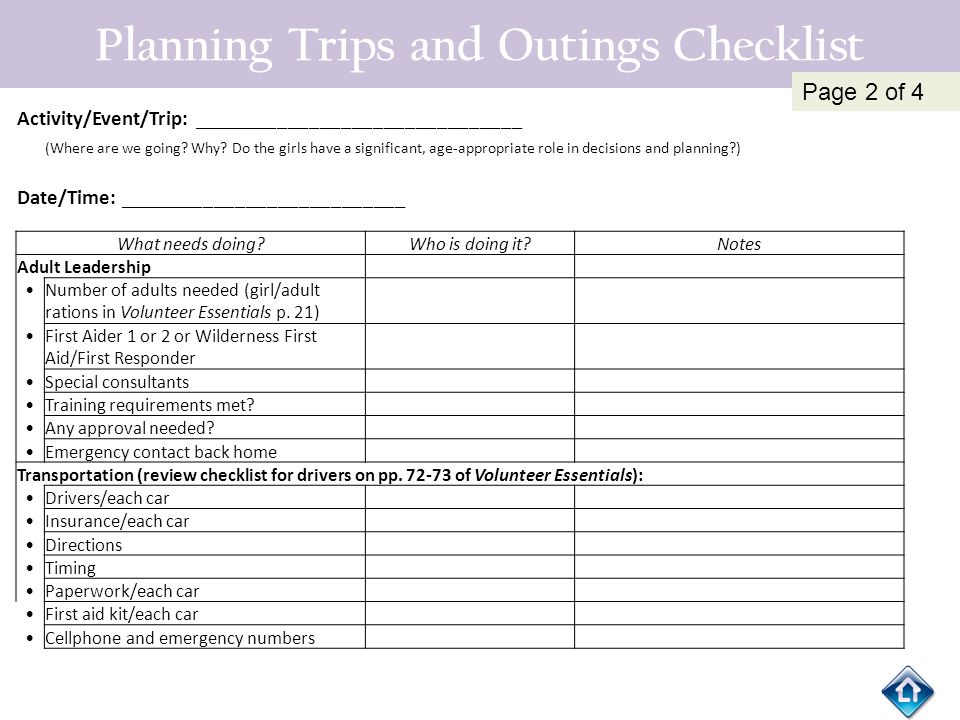 Planning Trips and Outings Checklist Activity/Event/Trip: _______________________________ (Where are we going? Why? Do the girls have a significant, a