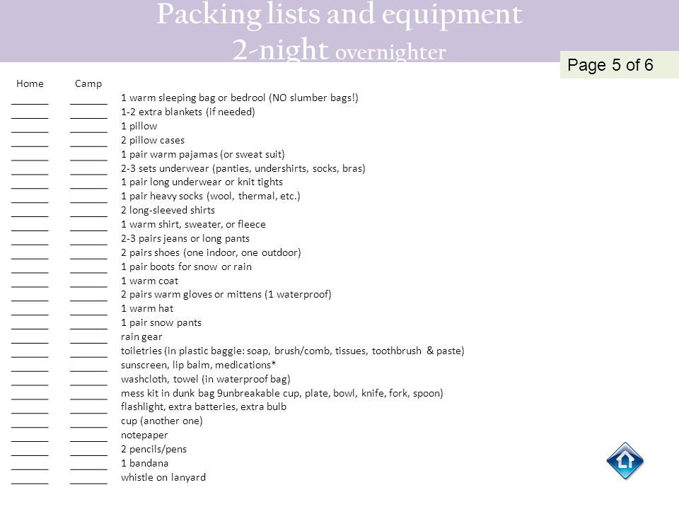 Packing lists and equipment 2-night overnighter HomeCamp 1 warm sleeping bag or bedrool (NO slumber bags!) 1-2 extra blankets (if needed) 1 pillow 2 p