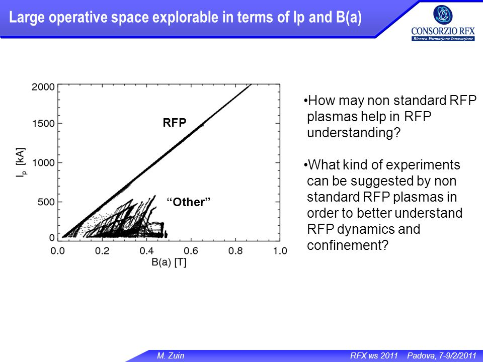 M. Zuin RFX ws 2011 Padova, 7-9/2/2011 How may non standard RFP plasmas help in RFP understanding? What kind of experiments can be suggested by non st