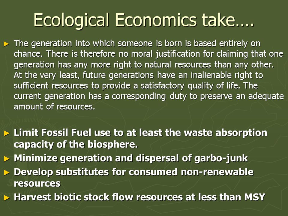 Ecological Economics take….