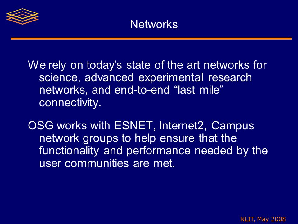 """NLIT, May 2008 Networks We rely on today's state of the art networks for science, advanced experimental research networks, and end-to-end """"last mile"""""""