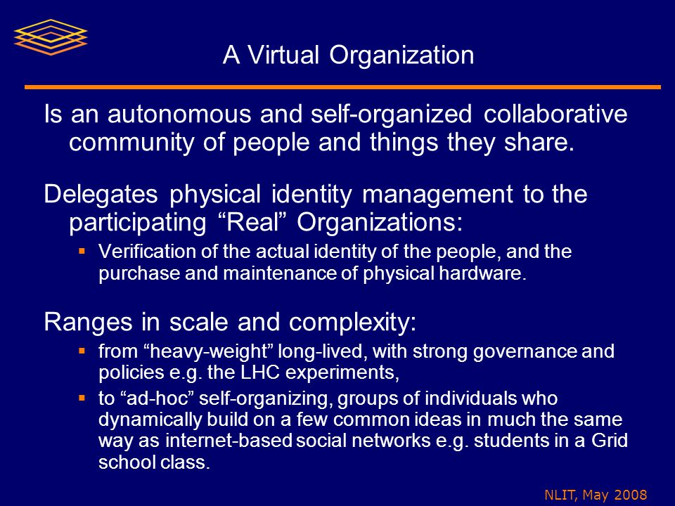 NLIT, May 2008 A Virtual Organization Is an autonomous and self-organized collaborative community of people and things they share.