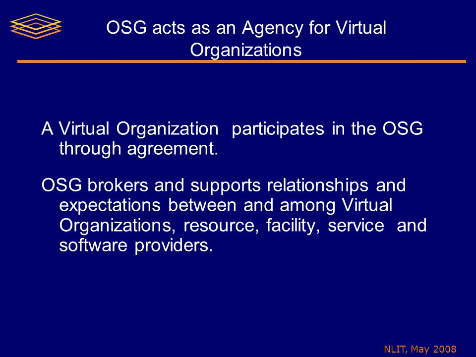 NLIT, May 2008 OSG acts as an Agency for Virtual Organizations A Virtual Organization participates in the OSG through agreement.