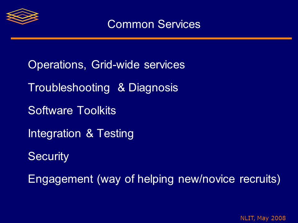 NLIT, May 2008 Common Services Operations, Grid-wide services Troubleshooting & Diagnosis Software Toolkits Integration & Testing Security Engagement (way of helping new/novice recruits)