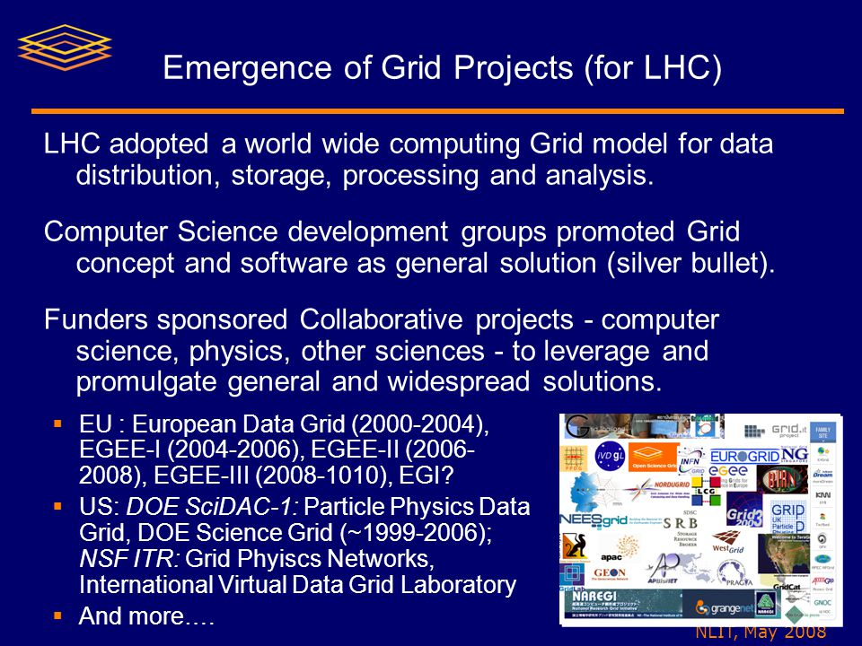 NLIT, May 2008 Emergence of Grid Projects (for LHC) LHC adopted a world wide computing Grid model for data distribution, storage, processing and analysis.