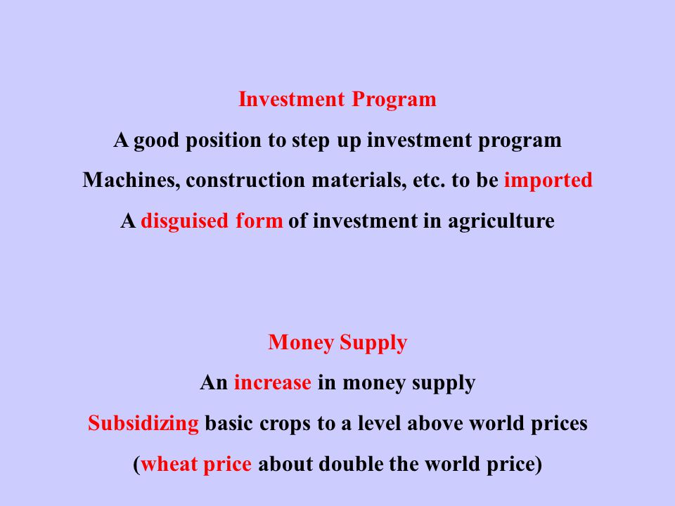 Investment Program A good position to step up investment program Machines, construction materials, etc.
