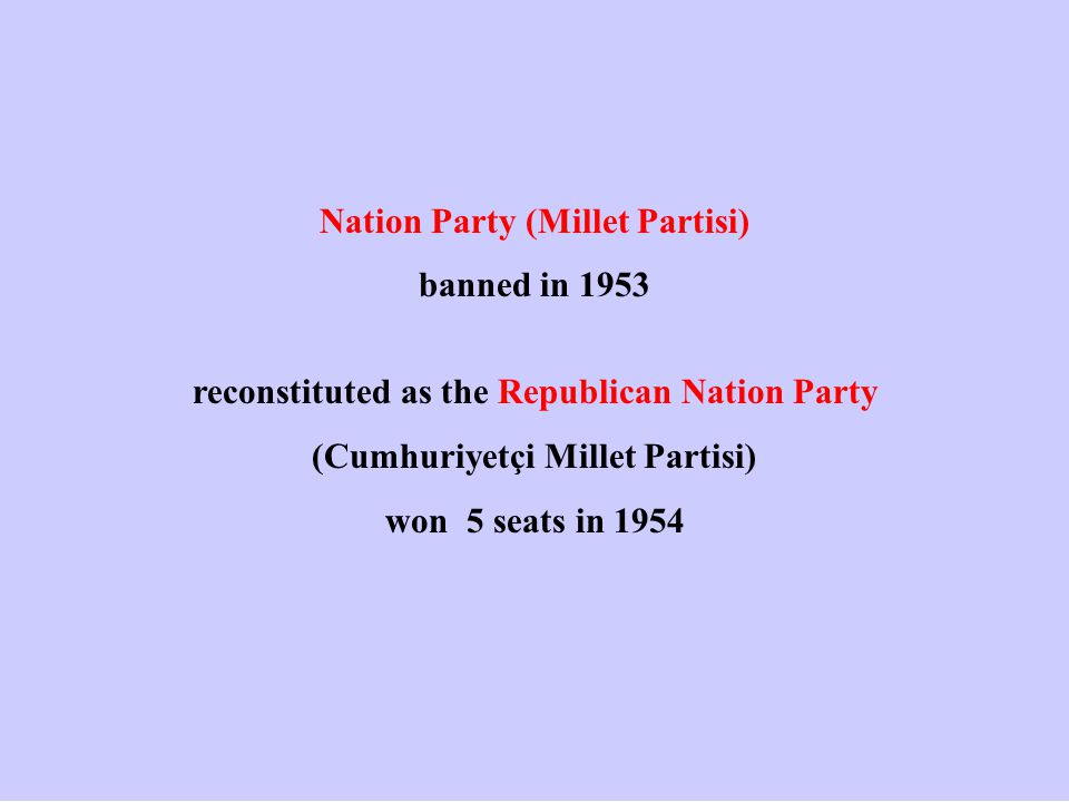 Nation Party (Millet Partisi) banned in 1953 reconstituted as the Republican Nation Party (Cumhuriyetçi Millet Partisi) won 5 seats in 1954