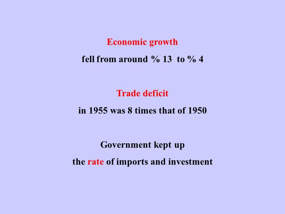Economic growth fell from around % 13 to % 4 Trade deficit in 1955 was 8 times that of 1950 Government kept up the rate of imports and investment