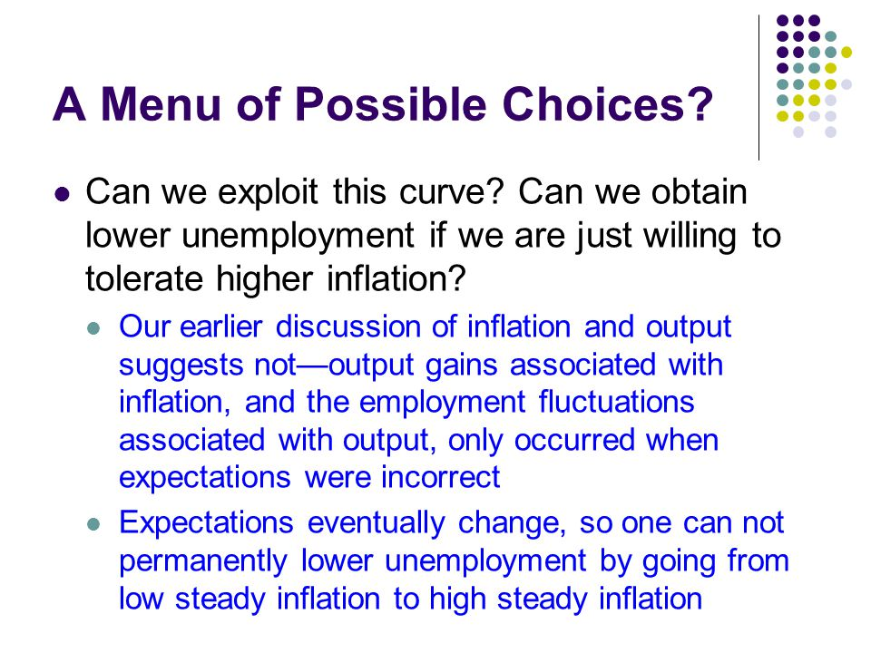A Menu of Possible Choices? Can we exploit this curve? Can we obtain lower unemployment if we are just willing to tolerate higher inflation? Our earli