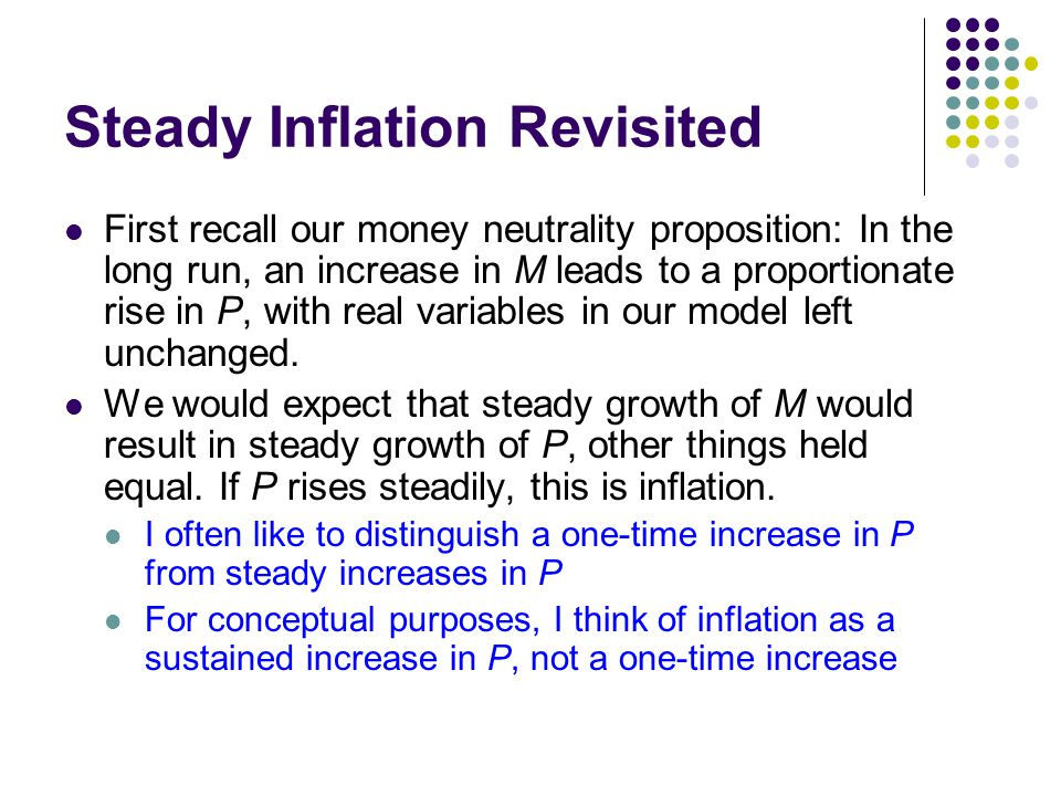 Steady Inflation Revisited First recall our money neutrality proposition: In the long run, an increase in M leads to a proportionate rise in P, with r