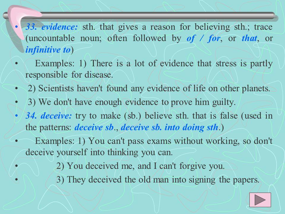 33. evidence: sth.