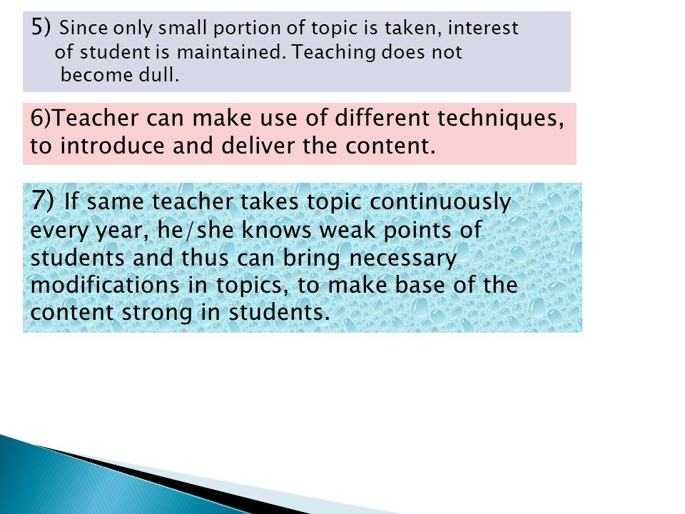5) Since only small portion of topic is taken, interest of student is maintained. Teaching does not become dull. 6)Teacher can make use of different t