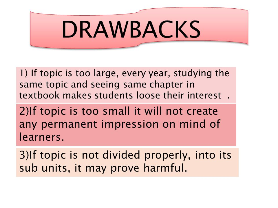 DRAWBACKS 1) If topic is too large, every year, studying the same topic and seeing same chapter in textbook makes students loose their interest. 2)If
