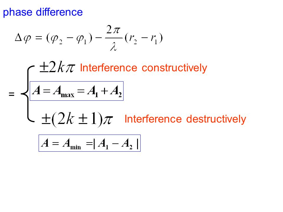 Path length difference if = Interference constructively Interference destructively