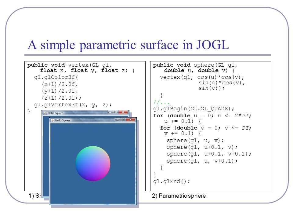 1) Shaded square A simple parametric surface in JOGL public void vertex(GL gl, float x, float y, float z) { gl.glColor3f( (x+1)/2.0f, (y+1)/2.0f, (z+1)/2.0f); gl.glVertex3f(x, y, z); } public void sphere(GL gl, double u, double v) { vertex(gl, cos(u)*cos(v), sin(u)*cos(v), sin(v)); } //...