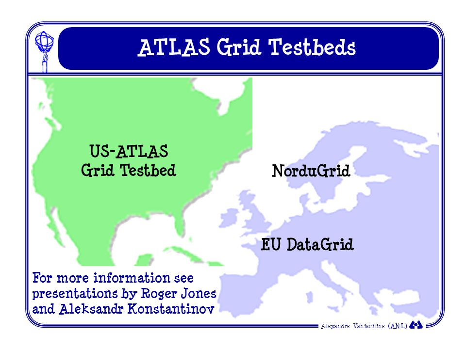 Alexandre Vaniachine (ANL) ATLAS Grid Testbeds US-ATLAS Grid Testbed EU DataGrid NorduGrid For more information see presentations by Roger Jones and Aleksandr Konstantinov