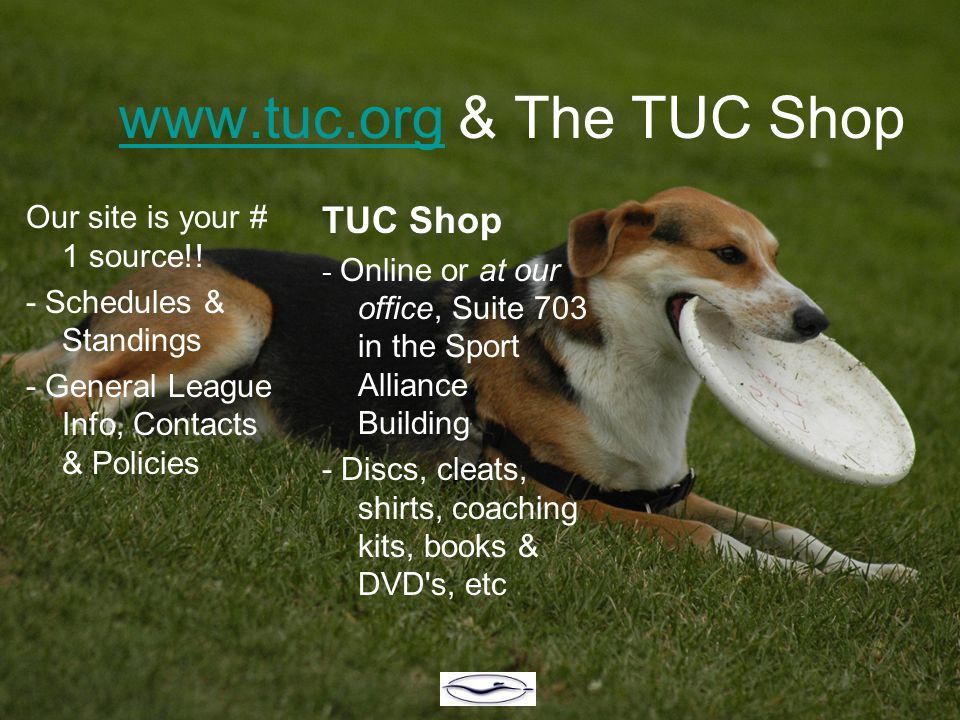 www.tuc.orgwww.tuc.org & The TUC Shop Our site is your # 1 source!! - Schedules & Standings - General League Info, Contacts & Policies TUC Shop - Onli