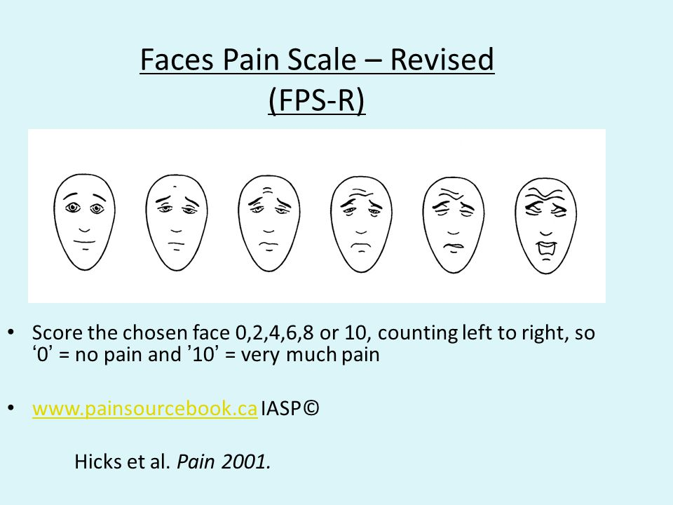 Faces Pain Scale – Revised (FPS-R) Score the chosen face 0,2,4,6,8 or 10, counting left to right, so '0' = no pain and '10' = very much pain www.pains