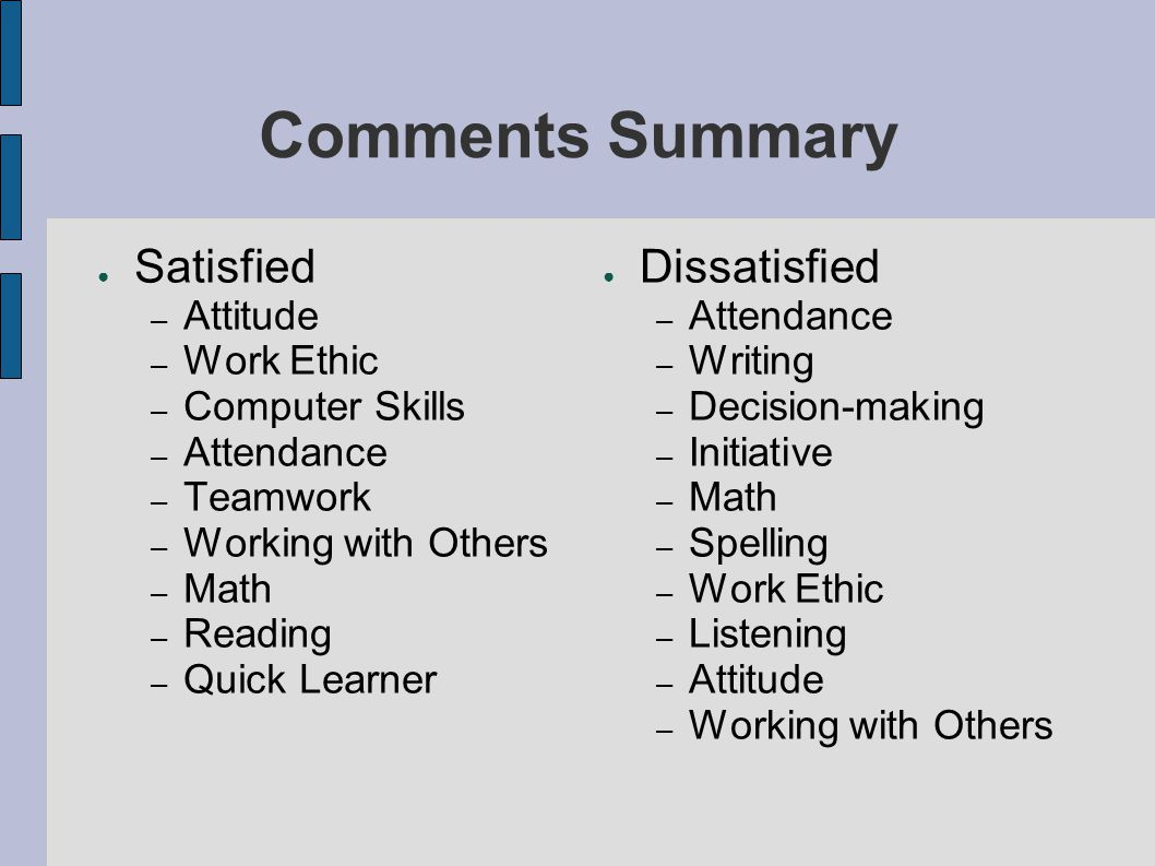 Comments Summary ● Satisfied – Attitude – Work Ethic – Computer Skills – Attendance – Teamwork – Working with Others – Math – Reading – Quick Learner ● Dissatisfied – Attendance – Writing – Decision-making – Initiative – Math – Spelling – Work Ethic – Listening – Attitude – Working with Others